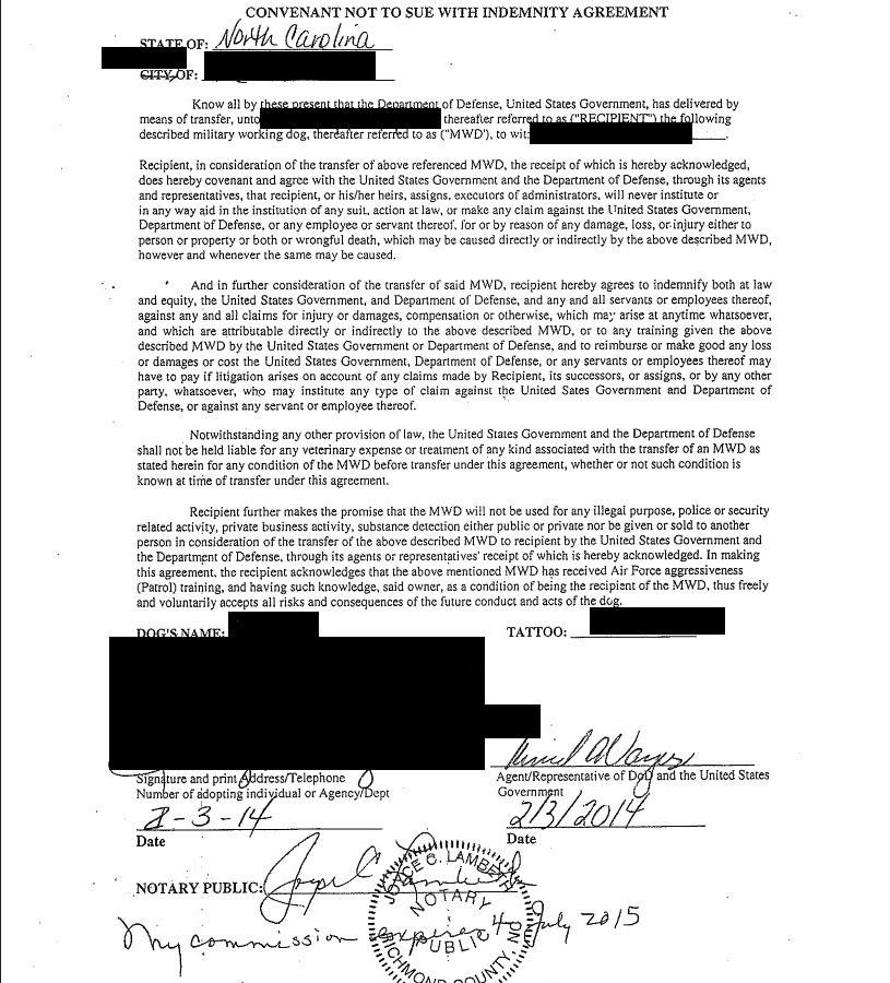 Convenant Not To Sue With Indemnity Agreement 2 3 14 Black Redacted