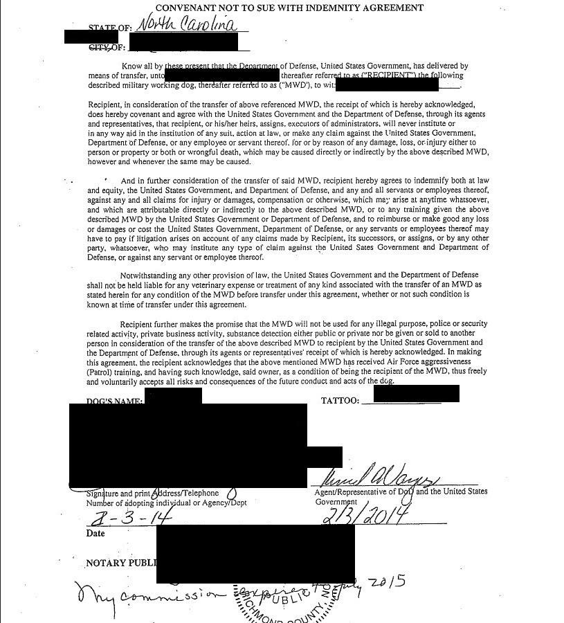 Convenant Not to Sue with Indemnity Agreement 2-3-14 black redacted Enclosure 1